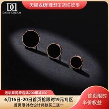 韩国简约(小)巧黑色钛钢yr7钉女圆形un21新款潮镀玫瑰金气质耳饰