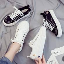 帆布高ys靴女帆布鞋qr生板鞋百搭秋季新式复古休闲高帮黑色