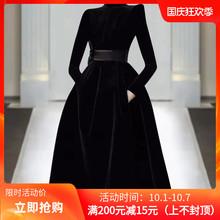 欧洲站yt020年秋qb走秀新式高端女装气质黑色显瘦丝绒连衣裙潮