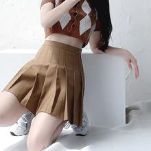 202yu新式纯色西ke百褶裙半身裙jk显瘦a字高腰女春秋学生短裙