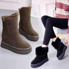 201yu冬季内雪地ii加厚休中筒靴闲保暖棉鞋松糕跟短靴厚底