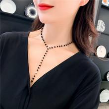 韩国春yu2019新mt项链长链个性潮黑色水晶(小)爱心锁骨链女