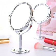 寝室高yu旋转化妆镜iu放大镜梳妆镜 (小)镜子办公室台式桌双面