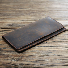 [yuningye]男士复古真皮钱包长款超薄