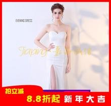 性感礼yu修身显瘦抹fu晚装大腿高开叉连衣裙车模夜店主持的女