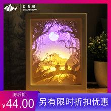 七忆鱼yu影 纸雕灯fudiy材料包成品3D立体创意礼物叠影灯