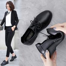 妈妈鞋yu作鞋女鞋2ym春季新式黑色舒适真皮单鞋平底软皮系带皮鞋