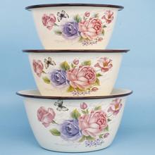 18-yu6搪瓷老式ai盆带盖碗绞肉馅和面盆带盖熬药猪油盆