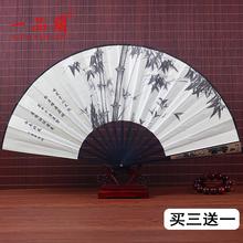 中国风yu0寸丝绸大ai古风折扇汉服手工复古男霸气折叠扇竹随身