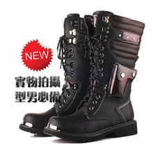 男靴子马丁靴子时尚长筒靴内增高yu12款高筒ai大码皮靴男
