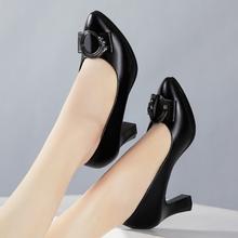 春秋新yu女单鞋真皮an作鞋黑色浅口职业女士皮鞋高跟中年女鞋