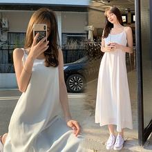 吊带裙yu式女夏中长ui无袖背心宽松大码内搭衬裙性感打底长裙