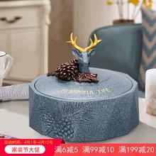 美式家yu带盖客厅时an缸茶几摆件复古装饰品个性