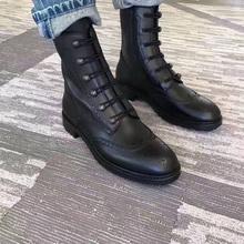 欧美2020春夏新式布洛克雕花金yv13铆钉真de马丁靴机车短靴