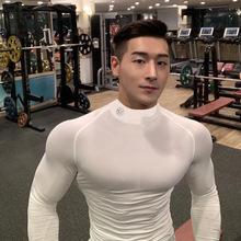 肌肉队yw紧身衣男长oiT恤运动兄弟高领篮球跑步训练速干衣服