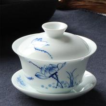 新式德yx陶瓷手绘荷hr青花瓷手抓泡茶碗三才碗杯功夫茶具茶杯