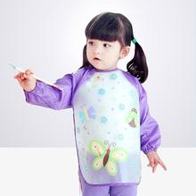 宝宝罩yx画画衣塑料qq童女孩反穿衣婴儿围裙宝宝吃饭围兜罩衫