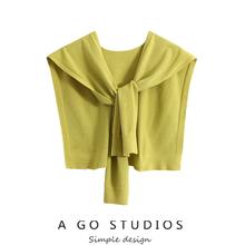 (小)众设计感仿yx3绒打结空sx毛针织(小)披肩坎肩围巾百搭围脖女