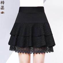 黑色蕾yx短裙中年妈yn裙秋冬打底裙女双层蛋糕防走光裤裙厚式