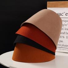 日本(小)yy设计羊毛呢mf桶帽时尚钟型盆帽女渔夫帽子秋冬乞丐帽