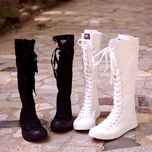 全黑高yy帆布鞋韩款sj筒靴子舞台演出靴白色帆布靴大码高筒靴
