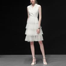 白色气yy修身西装收jq中长式纱裙连衣裙女装2021新式夏装