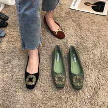 单鞋女yz020春式ak方扣水钻平底鞋百搭浅口温柔风气质工作女鞋