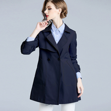 香衣丽yz2021春bd女装藏青色修身显瘦(小)个子短式外套风衣女