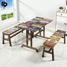 大排档yz餐厅餐饮长kt店饭桌快餐桌椅组合中式4的方桌奶茶店