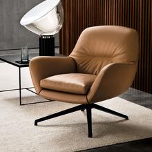 简约轻z6旋转休闲椅6q布艺沙发阳台懒的椅意式纳帕真皮单的椅