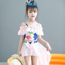 女童泳za比基尼分体ha孩宝宝泳装美的鱼服装中大童童装套装