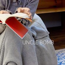 北欧搭za床沙发毯灰ha毛线单的搭巾纯色针织毯毛毯床毯子铺毯