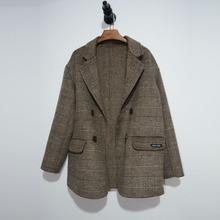 100za羊毛专柜订ou休闲风格女式格子大衣短式宽松韩款呢大衣女