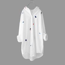 刺绣衬za女装纯棉春ou21新式时尚设计感中长式休闲宽松白色衬衣