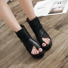 厚底凉靴女罗马za帮显瘦凉鞋ng趾女鞋坡跟个性透气网纱女短靴