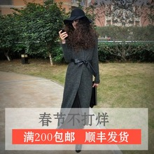 AYAza女装春秋季ta美街头拼皮纯色系带修身超长式毛衣开衫外套