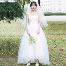 【白(小)za】旅拍轻婚ta2020新式秋新娘主婚纱吊带齐地简约森系