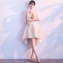晚礼服za2021新un短式改良日常旗袍裙春夏前短后长显瘦