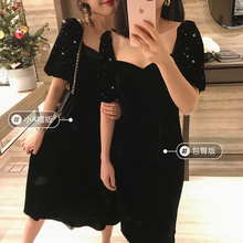 SRKza闪耀黑曜石an丝绒连衣裙生日派对宴会晚礼服(小)黑裙含真丝