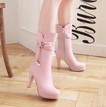 202zc秋冬季新式kg士靴中筒靴女靴子高筒靴高跟鞋粗跟长靴女鞋