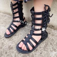 女童凉鞋 zc2020新vi女孩公主鞋 夏季中(小)童高邦露趾罗马凉靴