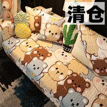 清仓可zd全棉沙发垫pz约四季通用布艺纯棉防滑靠背巾套罩式夏