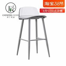 铁艺吧zd透明靠背高ea代简约塑料吧椅个性网红吧凳北欧
