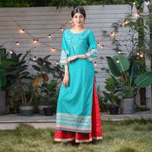 野的(小)饰 印度zd装孔雀蓝印ea 民族风七分袖服饰上衣2020新款