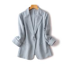 秋季薄zd服女通勤Oug显瘦一粒扣卷边七分袖亚麻透气(小)西装外套