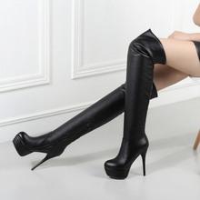 冬季2zd19弹力靴yd子超高跟细跟长筒靴圆头显瘦靴马丁靴