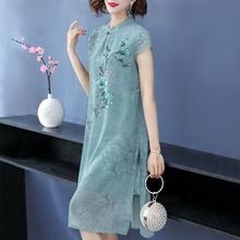 妈妈春ze装新式气质an中老年的婚礼旗袍裙中年妇女穿大码裙子