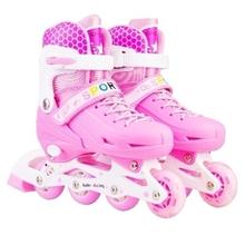 粉色滑zf(小)童(小)孩子dy冰鞋初学者少儿护具通用套装护膝