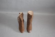 磨砂羊zf坡跟女靴咖li筒里外全皮品牌撤柜真皮靴22783701