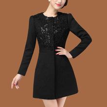 乐宁雅zf020新式tw修身黑色提花冬季外套单排扣长式女式风衣
